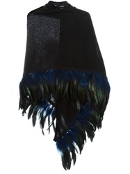 Antonia Zander Feather Trim Scarf Black