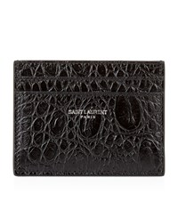 Saint Laurent Croc Embossed Card Holder Unisex Black