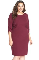 Adrianna Papell Plus Size Women's Side Ruched Crepe Sheath Dress