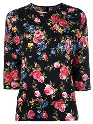 Dolce And Gabbana Floral Three Quarter Sleeve Top Black