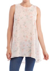 Paper Crown Floral Printed Sleeveless Shift Tunic Honeymoon