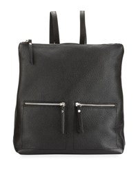 Neiman Marcus Zip Pocket Square Leather Backpack Black
