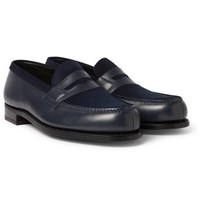 J.M. Weston Leather And Suede Penny Loafers Midnight Blue