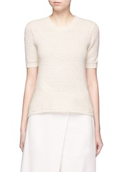 Maiyet Cashmere Silk Open Knit Sweater White