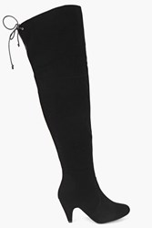 Boohoo Over Knee Low Heel Boots Black