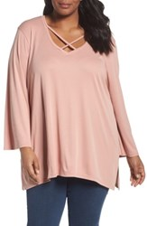 Sejour Plus Size Women's Cross Front Bell Sleeve Top Pink Dusty Rose