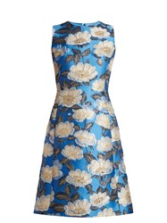 Dolce And Gabbana Floral Jacquard Sleeveless Dress Blue Multi