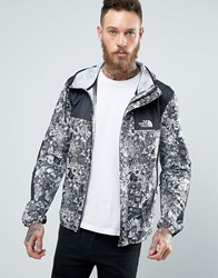 The North Face 1985 Mountain Jacket Hooded In White Stickerbomb Print Navy