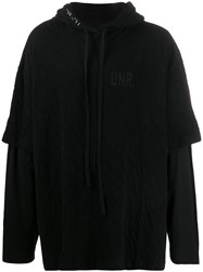 Unravel Project Layered Oversized Hoodie Black