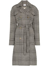 Magda Butrym Plaid Double Breasted Belted Coat Grey