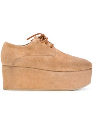 Marsell Platform Desert Shoes Leather Suede Rubber 35.5 Brown