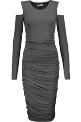 Bailey 44 Cutout Ruched Stretch Jersey Dress Anthracite