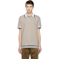 Band Of Outsiders White And Beige Stripe Polo