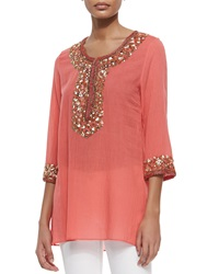 Calypso St. Barth Sage Beaded And Embroidered Tunic