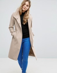 Asos Wool Blend Coat With Funnel Neck Brown