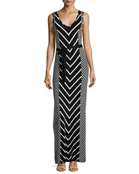 Neiman Marcus Chevron Striped Sleeveless Maxi Dress Black Cloud
