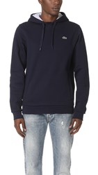 Lacoste Sport Pull Over Fleece Hoodie Navy Blue Silver Chine