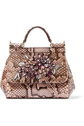 Dolce And Gabbana Sicily Mini Embellished Python Tote Antique Rose