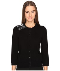 Kate Spade Embellished Bow Cardigan Black Women's Sweater