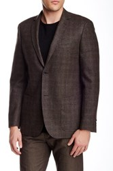 Zanetti Brown Plaid Two Button Notch Lapel Modern Fit Wool Sportcoat