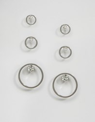 Monki 3 Pack Diamante Disc Earrings Silver