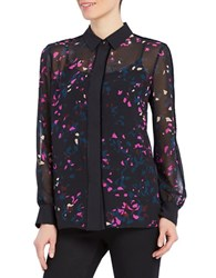 Ellen Tracy Printed Long Sleeve Shirt Reflection