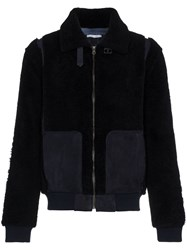 Lot 78 Lot78 Leather And Shearling Long Sleeve Jacket Blue