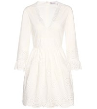 Red Valentino Broderie Anglaise Cotton Mini Dress White