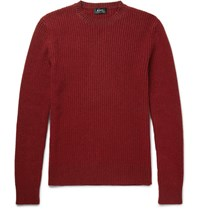 A.P.C. Ribbed Wool Blend Sweater Red