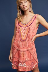 Anthropologie Reveka Embellished Shift Dress Coral
