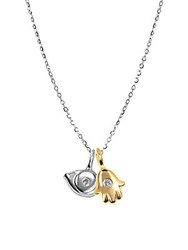 Alex Woo Sterling Silver Evil Eye And Hand Diamond 0.02 Tcw Pendant Necklace