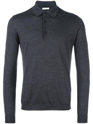 Boglioli Long Sleeve Polo Shirt Grey