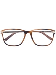 Cartier Square Frame Glasses Acetate Metal Brown