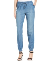 Style And Co. Chambray Jogger Pants Celestine Wash