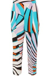Emilio Pucci Cropped Printed Silk Crepe De Chine Tapered Pants Lilac