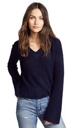 Ryan Roche V Neck Cashmere Sweater With Flared Sleeves Navy