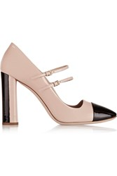 Miu Miu Two Tone Patent Leather Mary Jane Pumps Pink