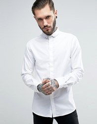 Noose And Monkey Skinny Shirt With Collar Skulls White