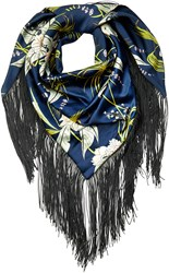 Soaked In Luxury Floral Print Scarf With Fringing Blue
