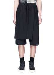 Song For The Mute Detachable Rope Mock Wrap Seersucker Shorts Black