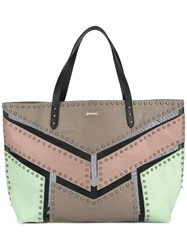 Diesel Studded Colourblock Tote Nude Neutrals