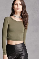 Forever 21 Stretch Knit Crop Top Olive