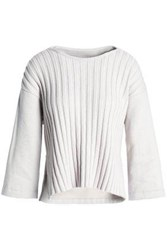 Gentryportofino Paneled Ribbed Knit Cotton And Wool Top Neutral