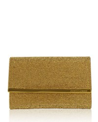 Judith Leiber Guilia Fully Beaded Clutch Bag Gold