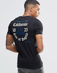 Asos Longline Muscle T Shirt With Blue Metallic Foil Back Print Black