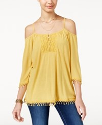 American Rag Crochet Trim Off The Shoulder Top Only At Macy's Mustard
