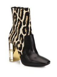 Roberto Cavalli Leopard Print Calf Hair And Leather Lucite Heel Booties Black Natural