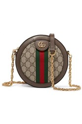 Gucci Ophidia Mini Textured Leather Trimmed Printed Coated Canvas Shoulder Bag Beige