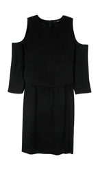 Tibi Savanna Crepe Cold Shoulder Dress