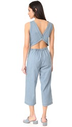 Cupcakes And Cashmere Hoffman Cropped Button Back Jumpsuit Chambray